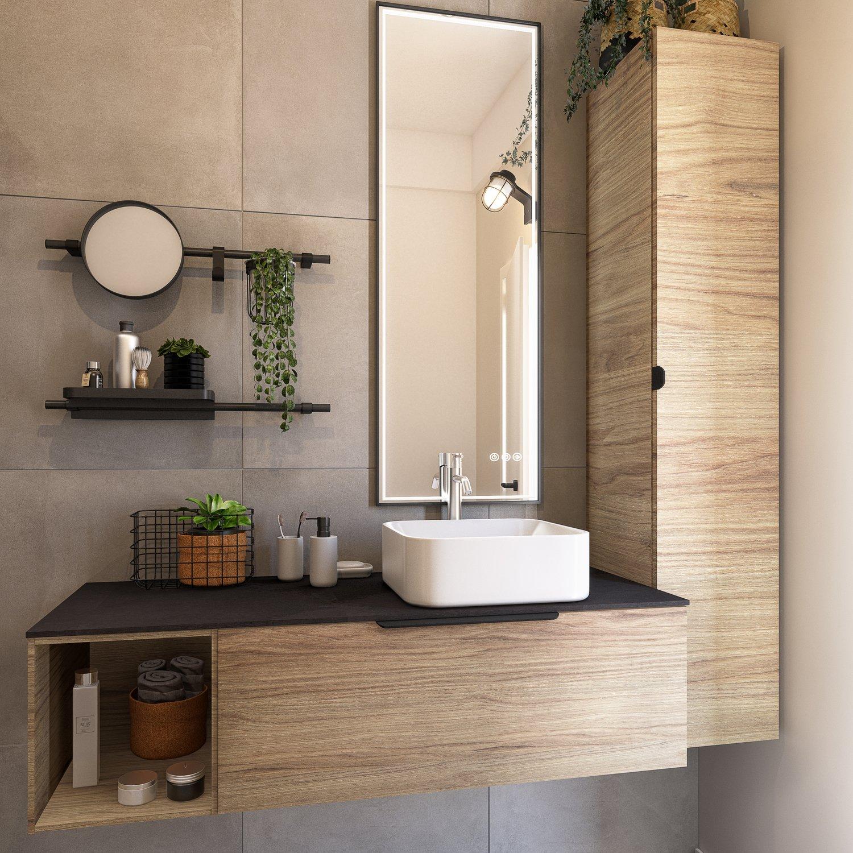Total look industriel avec ce meuble de salle de bains effet bois