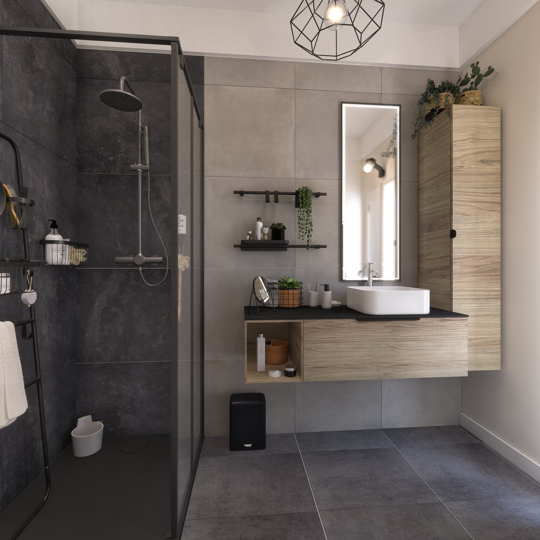 Une douche à l\'italienne dans une salle de bains au style ...