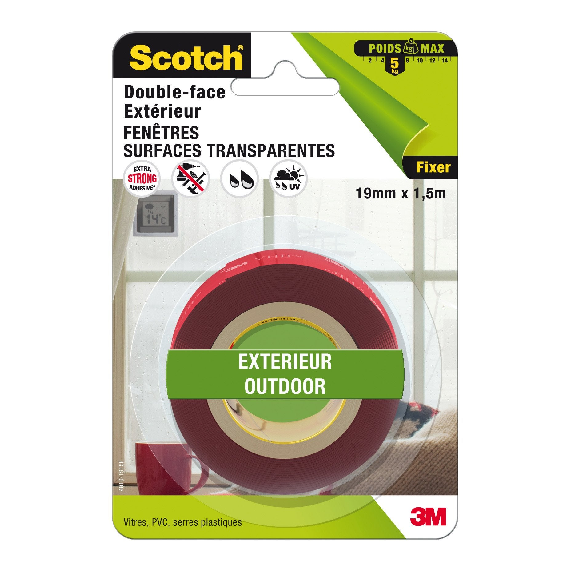 Rouleau Adhesif Double Face Exterieur Fenetres Scotch L 1 5 M X L 19 Mm Leroy Merlin