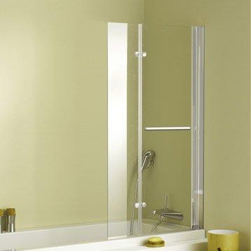 Pare-baignoire 2 volets verre de sécurité 5 mm transparent, Keo duo