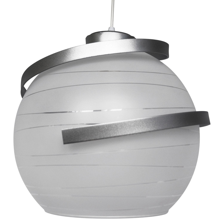 Suspension E27 Moderne Shadow Verre Blanc Et Chrome 1 X 75 W