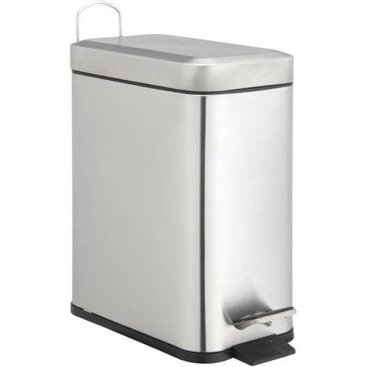 poubelle de salle de bains 5 l chrom sensea slim leroy merlin. Black Bedroom Furniture Sets. Home Design Ideas