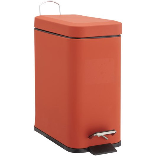 Poubelle de salle de bains 5l soft slim rouge rouge n 5 for Leroy merlin poubelle salle de bain