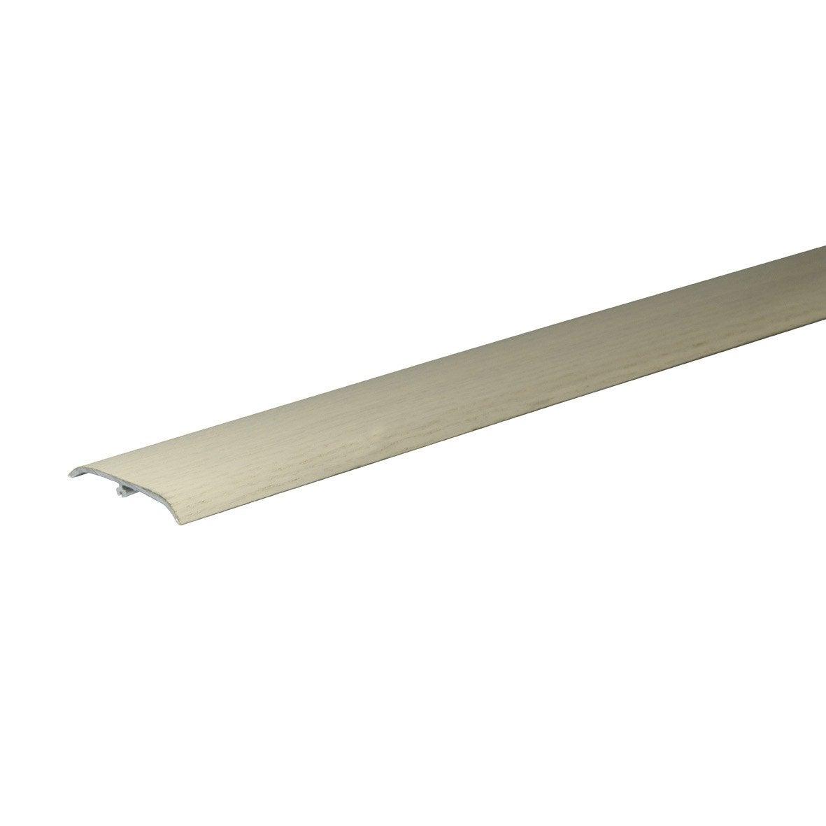 barre de seuil plaquée chêne polaire pour parquet, l.83 cm x l.47 mm