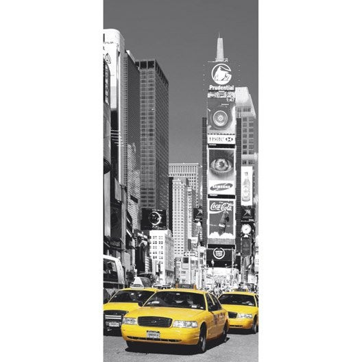 Poster de porte nyc times square 86x200 cm leroy merlin for Poster xxl mural leroy merlin