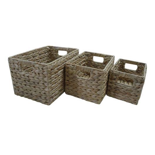 Lot de 3 paniers en fibres végétales naturel, Jacinthe | Leroy Merlin