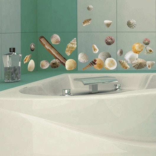 Sticker coquillages s 21 cm x 29 7 cm leroy merlin - Stickers carrelage salle de bain leroy merlin ...