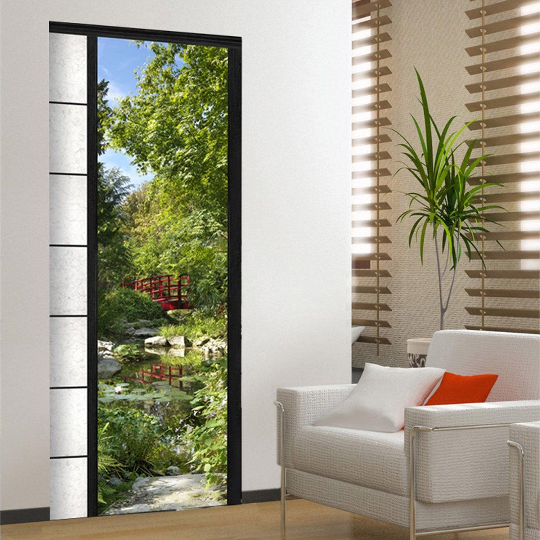 sticker porte ondoor osaka 83 cm x 204 cm leroy merlin. Black Bedroom Furniture Sets. Home Design Ideas
