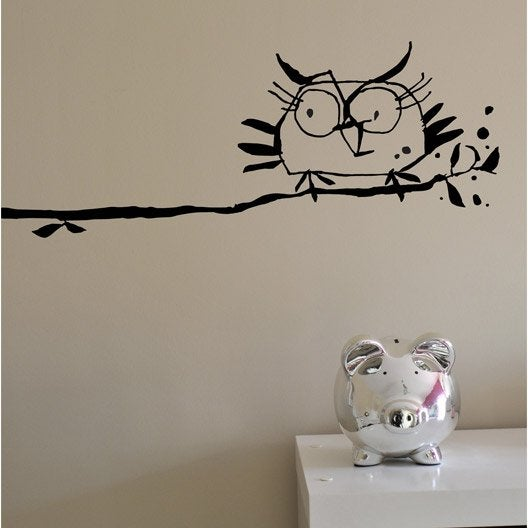 sticker la chouette 20 cm x 25 cm leroy merlin. Black Bedroom Furniture Sets. Home Design Ideas