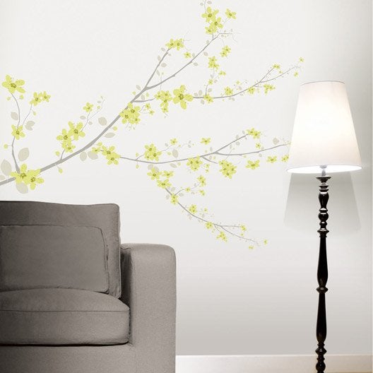 sticker cherry tree vert 47 x 67 cm leroy merlin. Black Bedroom Furniture Sets. Home Design Ideas