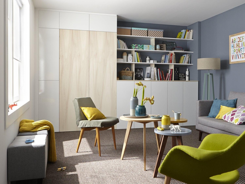 Un espace bureau dans le salon leroy merlin for Bureau dans un placard