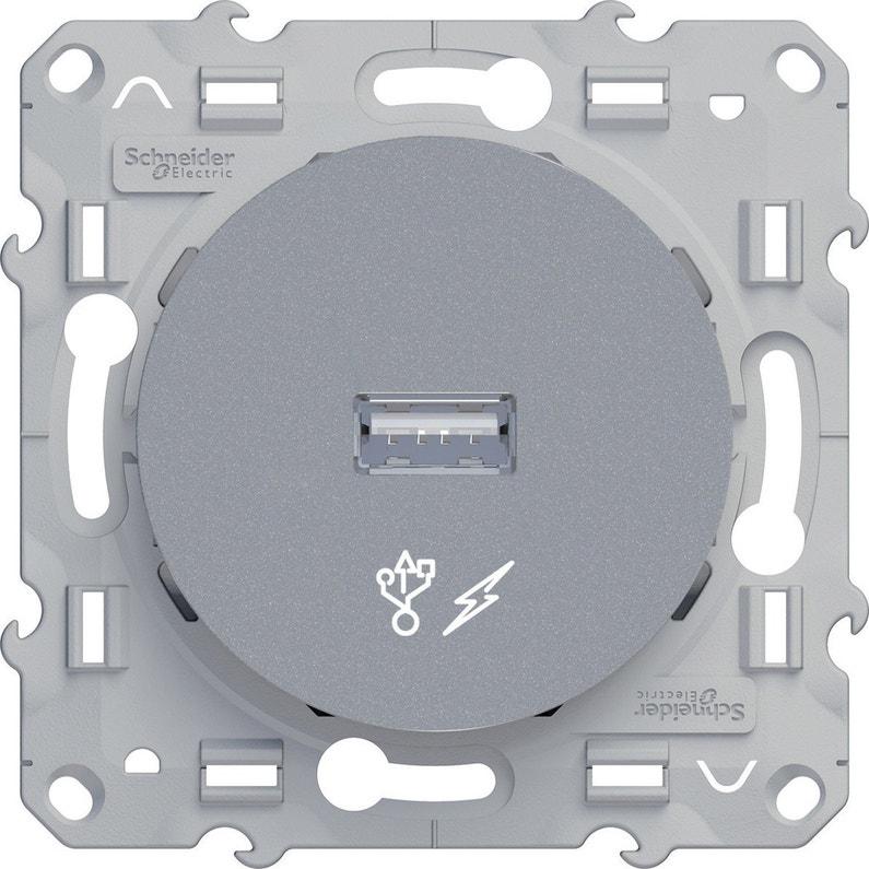 Prise Chargeur Usb Complet Schneider Odace Gris Aluminium