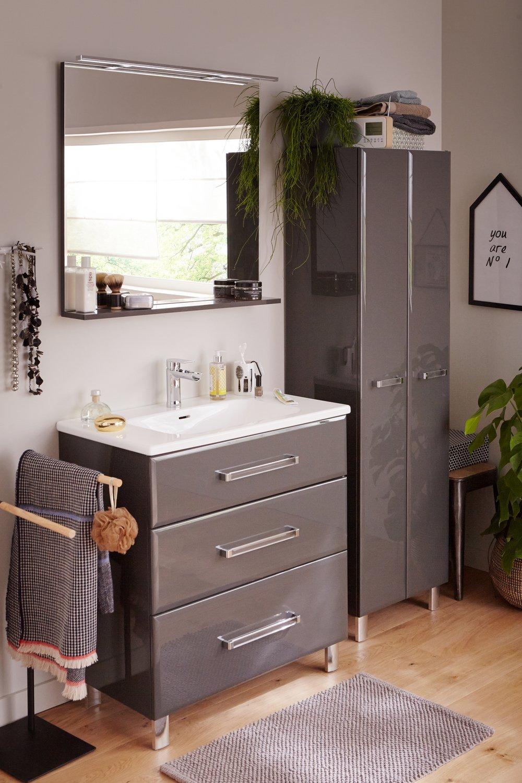La salle de bains grise et blanche contemporaine avec son - Salle de bain contemporaine grise et blanche ...