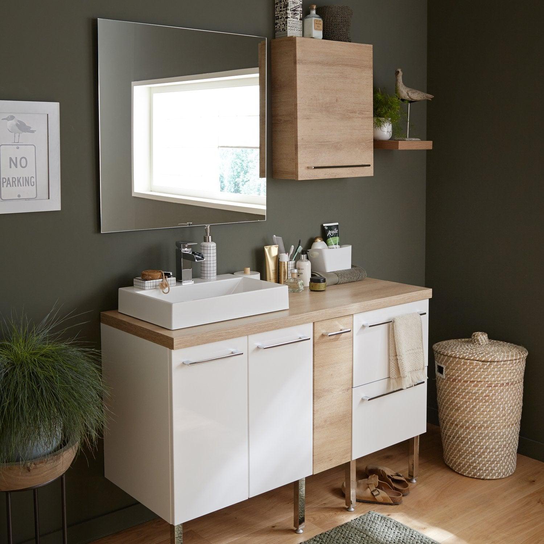 Une salle de bains chaleureuse tout en bois et blanc  Leroy Merlin