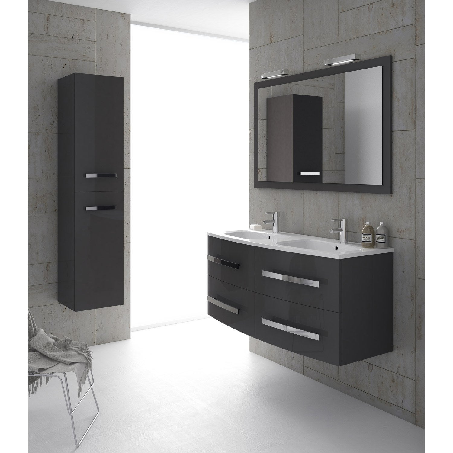 meuble de salle de bains plus de 120 gris argent perla leroy merlin. Black Bedroom Furniture Sets. Home Design Ideas