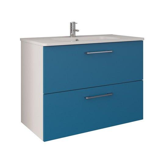 meuble de salle de bains de 80 à 99, bleu, happy   leroy merlin