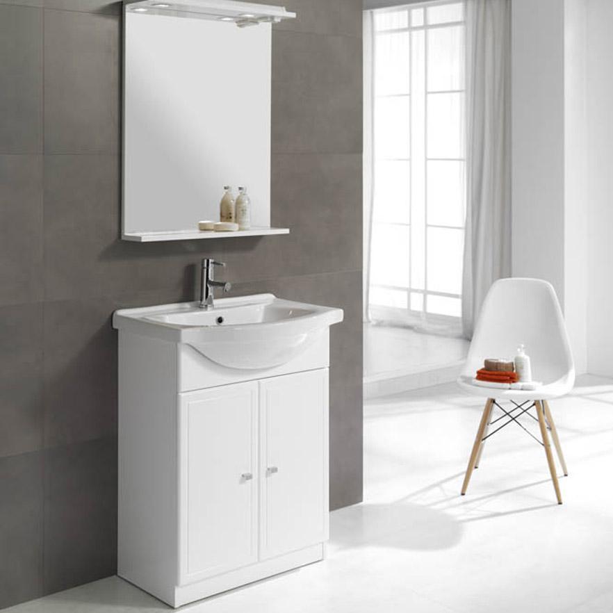 Meuble simple vasque l.60 x H.80 x P.33.4 cm, blanc, Galice