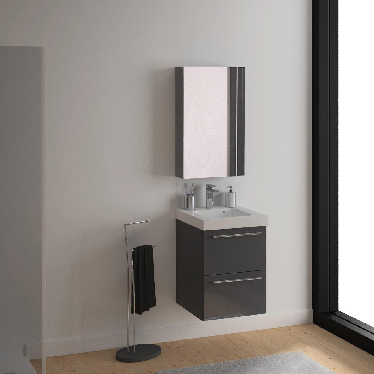 meuble de salle de bains remix gris simple vasque 2 tiroirs leroy merlin. Black Bedroom Furniture Sets. Home Design Ideas