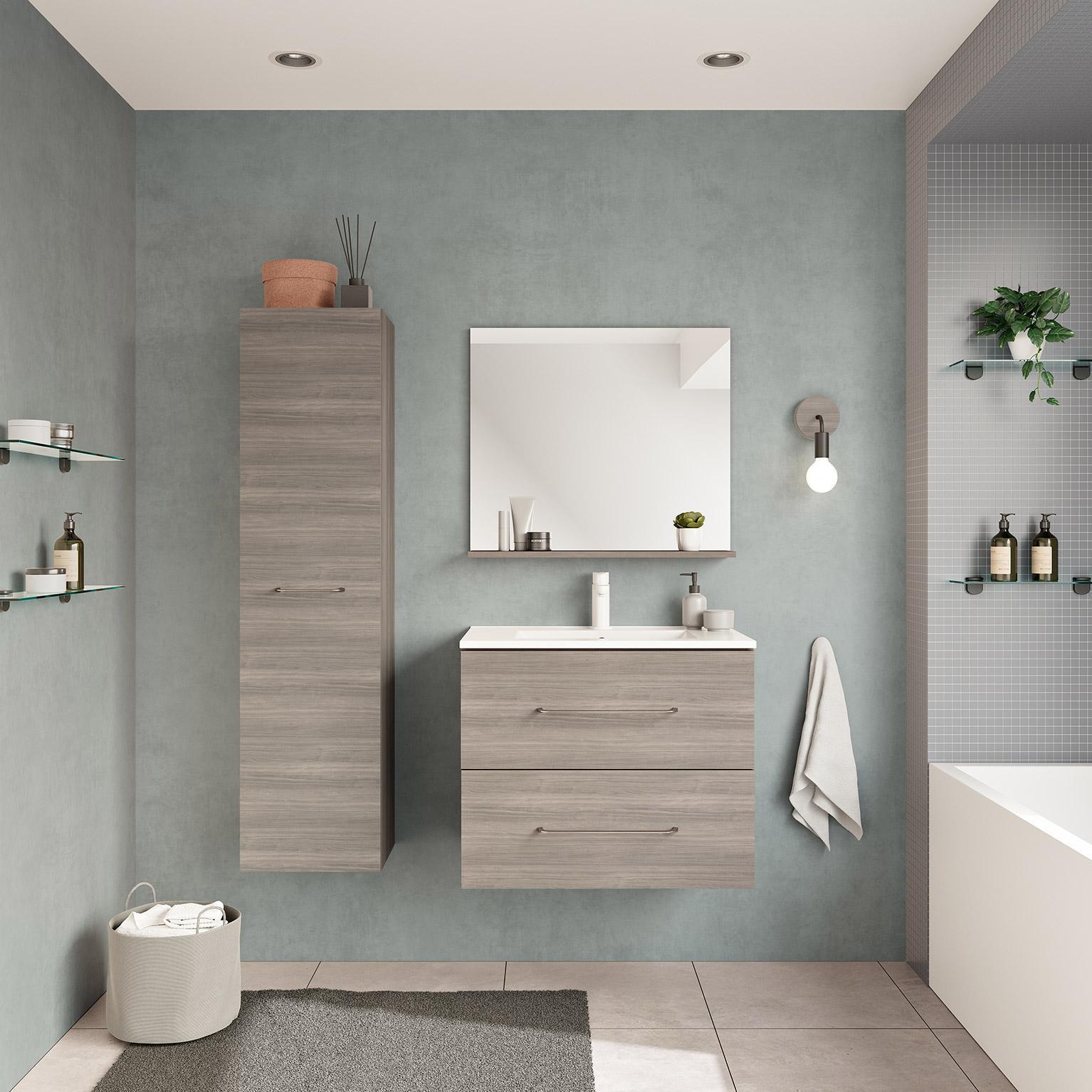 Armoire Salle De Bain 70 Cm Largeur meuble de salle de bains, clik l.70 x h.57 x p.45 cm, effet chêne grisé,  clik