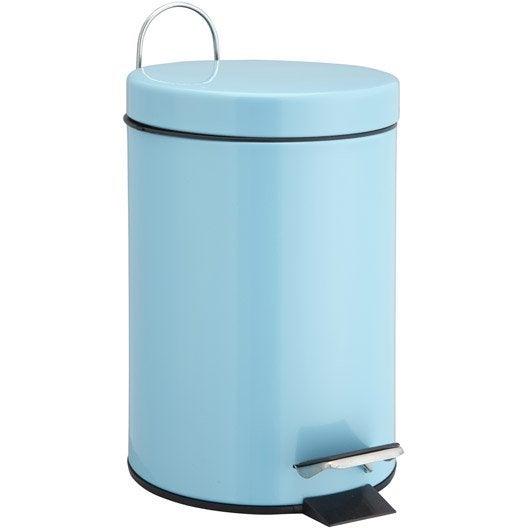 Poubelle de salle de bains 3 l bleu atoll 4 sensea happy for Accessoire de salle de bain bleu