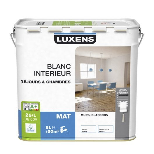peinture murs et plafonds luxens mat 5l leroy merlin. Black Bedroom Furniture Sets. Home Design Ideas