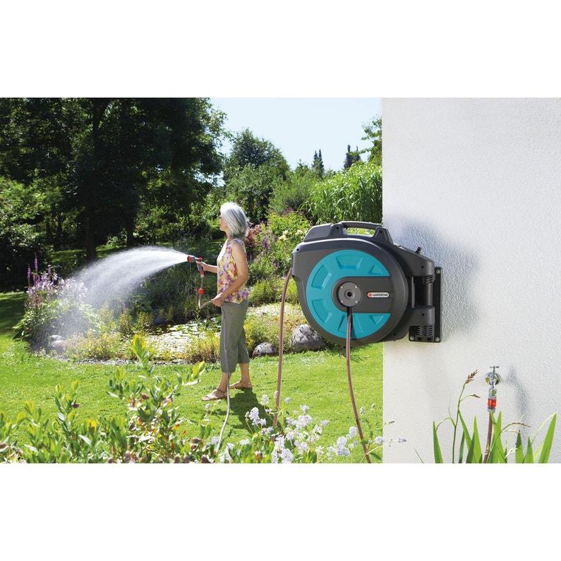 95db0e2c104827 Dévidoir mural équipé et autoenroulant L.35 m GARDENA 8025-20 ...