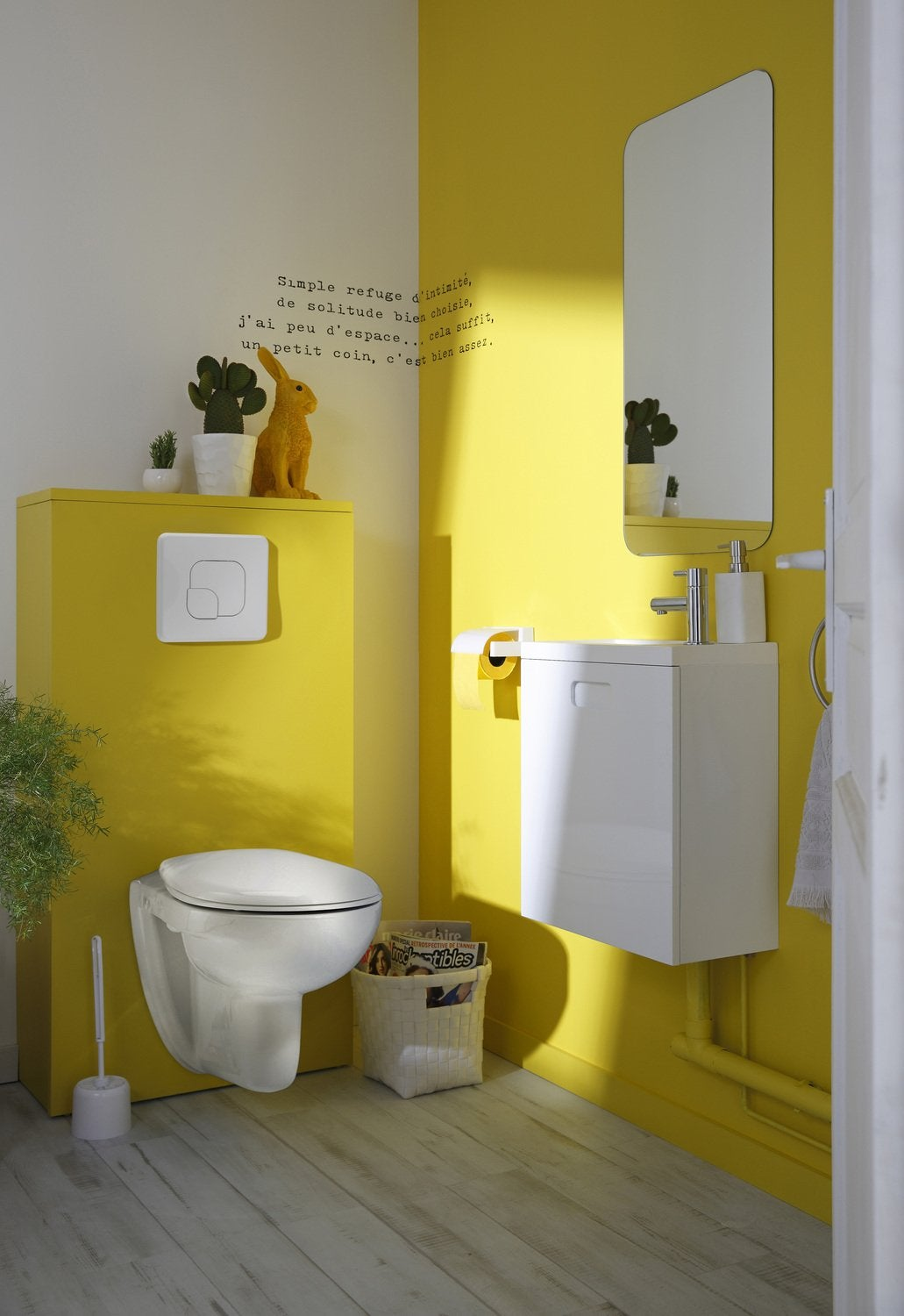 D co wc jaune for Carrelage wc gris