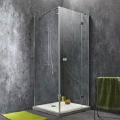 Porte de douche pivotante 88.5/90 cm profilé chromé, Premium2 + p. fixe