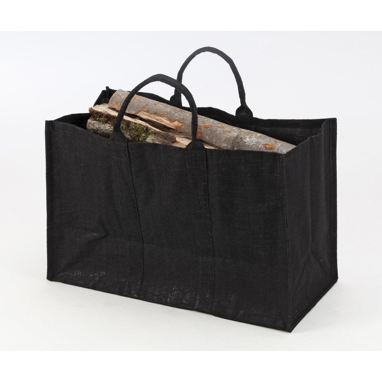 Sac à bûches noir DIXNEUF Natureo l.63 x H.41 cm
