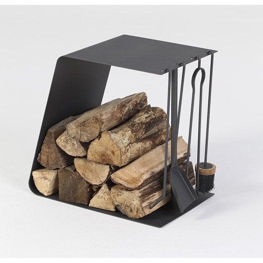 serviteur et rangement pour bois acier noir atelier dix neuf twin leroy merlin. Black Bedroom Furniture Sets. Home Design Ideas