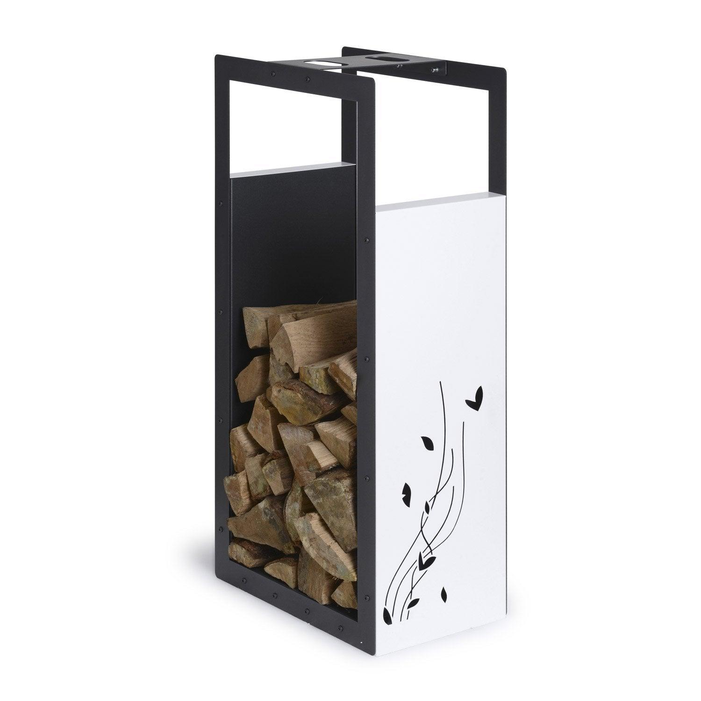 Portebûches Blanc Et Noir Sablé EQUATION L X H Cm Leroy Merlin - Porte bûches