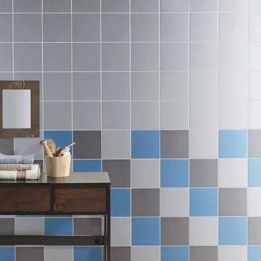 Faïence mur bleu baltique, Astuce l.20 x L.20 cm