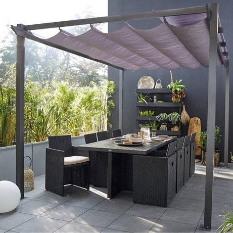 tonnelle pergola aluminium toile store polycarbonate personnalisable modulable leroy merlin. Black Bedroom Furniture Sets. Home Design Ideas