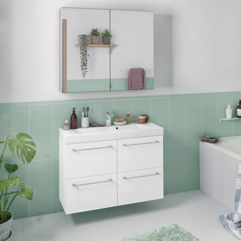 meuble de salle de bains, remix, l.91, blanc 3d, simple vasque, 4