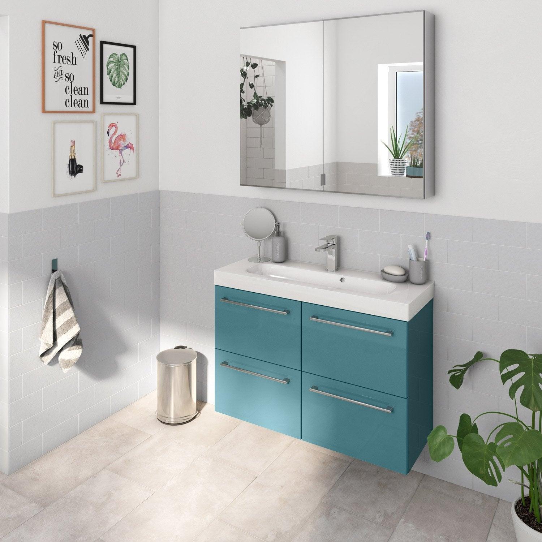 Meuble de salle de bains, Remix, l.91, vert, Simple vasque, 4 tiroirs