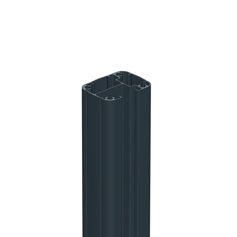 Poteau aluminium à visser gris pour clôture, l.5 x H.95 cm   Leroy Merlin