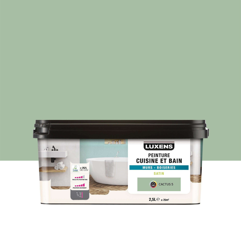 Chambre Humide Que Faire peinture mur cuisine et bain (pièce humide) luxens vert cactus 5 satiné 2.5  l