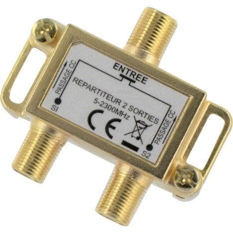 R partiteur int rieur terrestre et satellite 2 sorties for Amplificateur tv interieur
