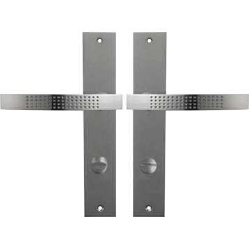 2 poignées de porte Louna condamnation / décondamnation, zinc nickelé, 195 mm