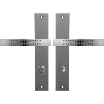 2 poignées de porte Louna condamnation / décondamnation, zinc, 195 mm