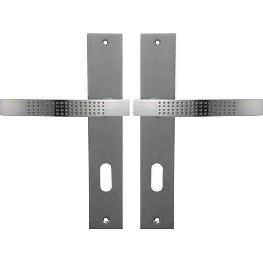 2 poignées de porte Louna trou de clé, zinc, 195 mm