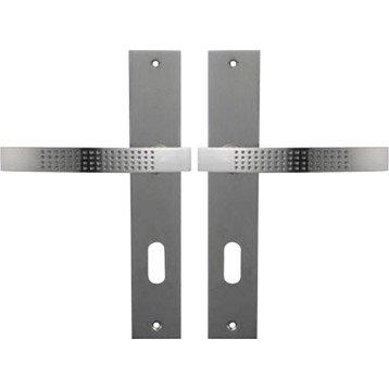 Lot de 2 poignées de porte Louna trou de clé, zinc nickelé, 195 mm