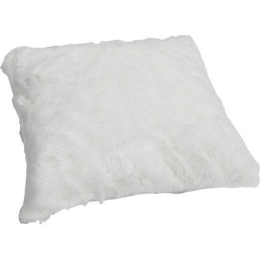 coussin fausse fourrure lapin blanc 50 x 50 cm leroy merlin. Black Bedroom Furniture Sets. Home Design Ideas