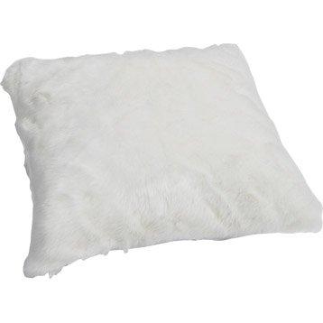 Coussin Fausse fourrure lapin, blanc, 50 x 50 cm
