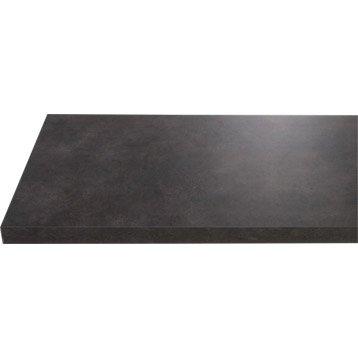 Plan de toilette en stratifié imitation métal vieilli noir, 150 x 4.4 x 50cm