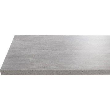 Plan de toilette en stratifié imitation beton gris argent, 90 x 4.4 x 50 cm