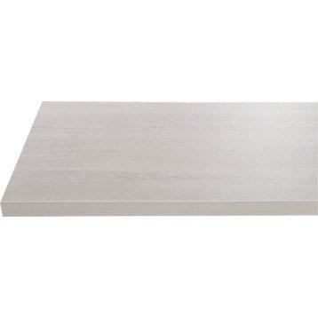 Plan de toilette en stratifié imitation bois blanchi, 90 x 4.4 x 50cm