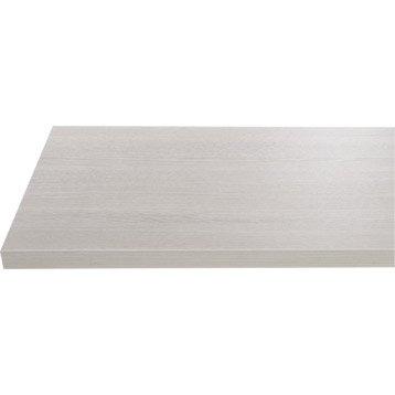Plan de toilette en stratifié imitation bois blanchi gris argent, 150x 4.4x 50cm