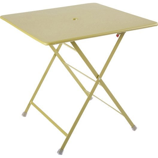 Table de jardin rainbow carr e vert 2 personnes leroy merlin for Table exterieur 2 personnes