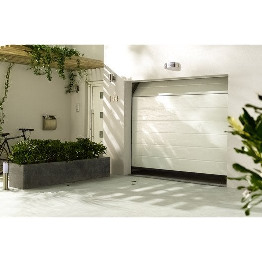 porte de garage sectionelle motoris e rainures horizontales 200x240 cm leroy merlin. Black Bedroom Furniture Sets. Home Design Ideas